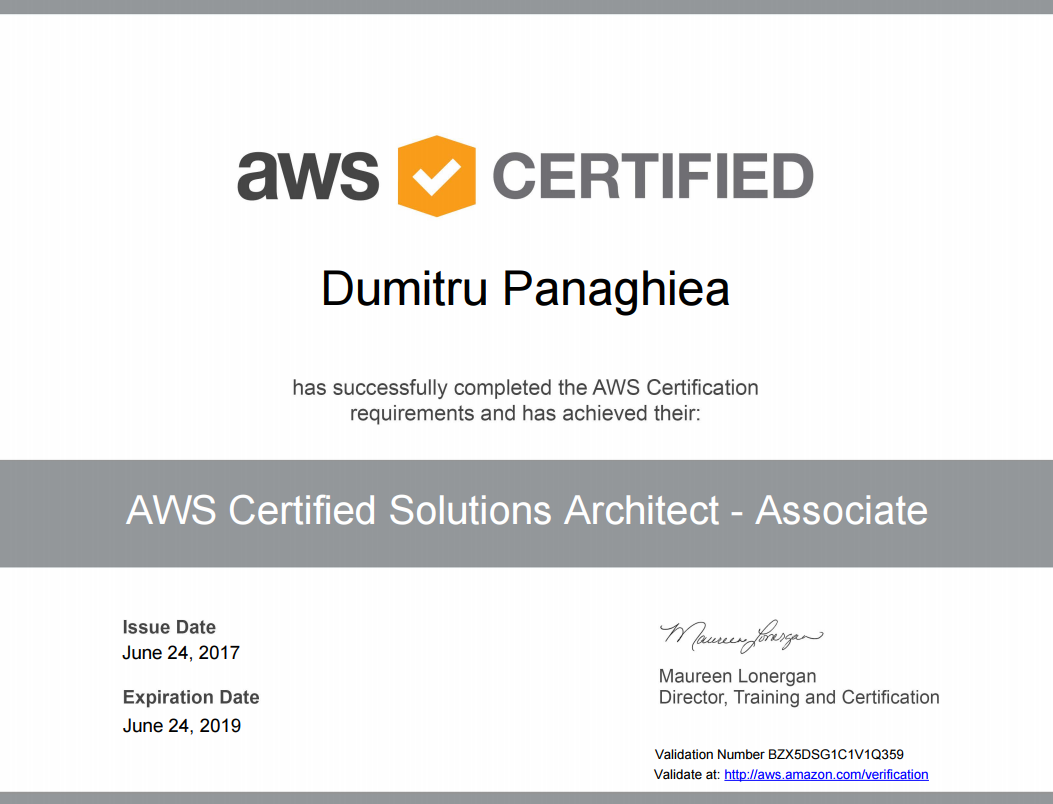 Dumitru is now AWS certified